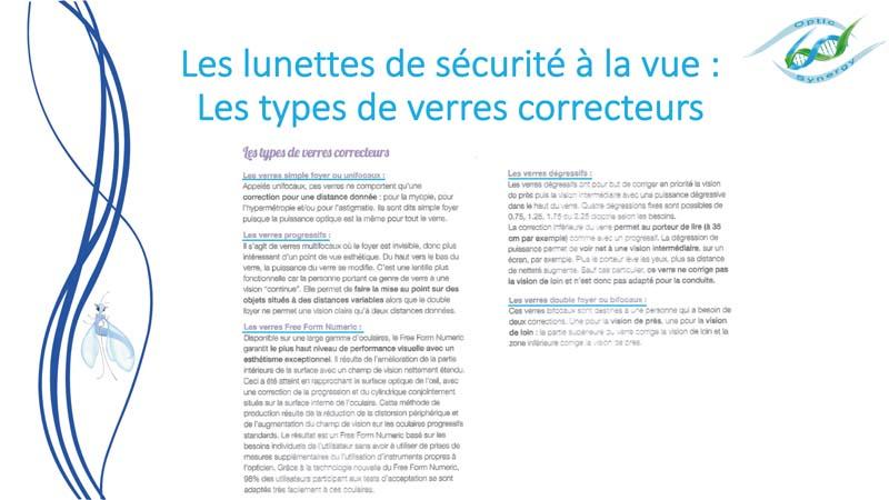 Lunettes de sécurité à la vue - Types de verre correcteurs Opticien Toulon & La Crau - Optic Synergy