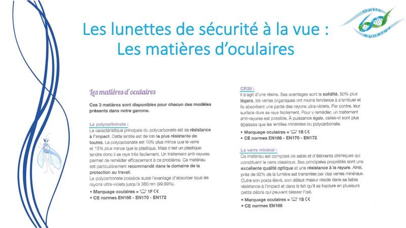 Lunettes de sécurité à la vue Matières oculaires - Opticien Toulon & La Crau - Optic Synergy