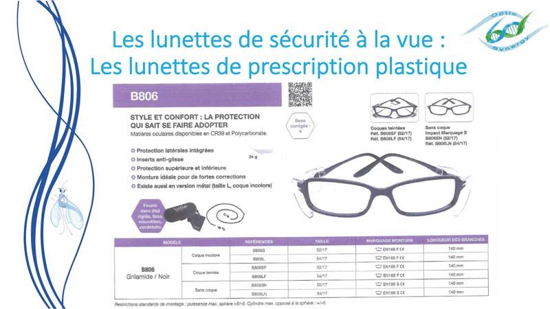 Lunettes de sécurité à la vue en plastique - Opticien Toulon & La Crau - Optic Synergy